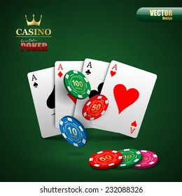 Vector poker background with playing cards and chips.vector