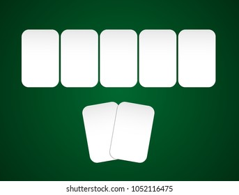 Vector poker cards. Poker game. Poker background. Poker table.