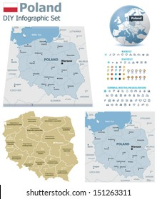 Vector Poland political and administrative divisions maps, Poland flag, Earth globe showing country location, map markers and related icon set