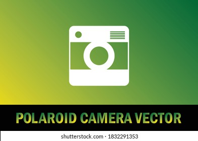 Vector of polaroid camera icon isolated on gradient background. For designer.