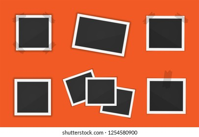 Vector Polaroid paper frames pack isolated on orange background