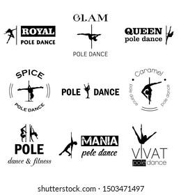 Vector pole dance logos set black on white background