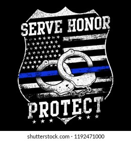"Vector Police Badge With Text ""Serve Honor Protect"" Fit For Poster, TShirt, Banner Etc"
