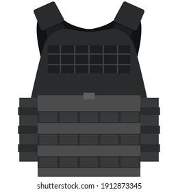 Vector police bulletproof vest isolated on white background. Protective military jacket for body safety. Cop or policeman uniform