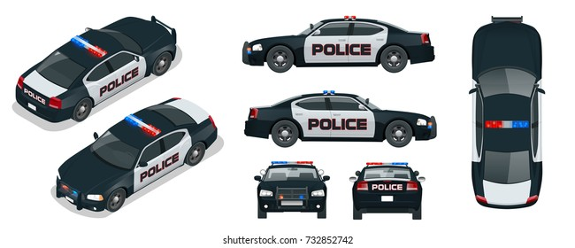 Vector Police car with rooftop flashing lights, a siren and emblems. Template isolated illustration. View front, rear, side, top and isometric. Change the color in one click