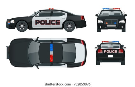 Vector Police car with rooftop flashing lights, a siren and emblems. Template isolated illustration. View front, rear, side, top. Change the color in one click.