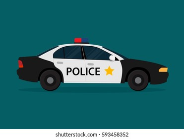 Vector police car view side. Flat illustration icons.
