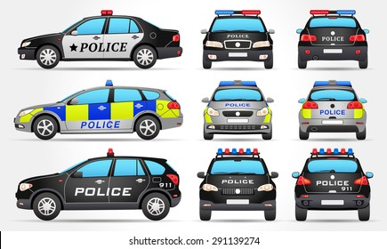 Vector Police Cars - Side - Front - Back view