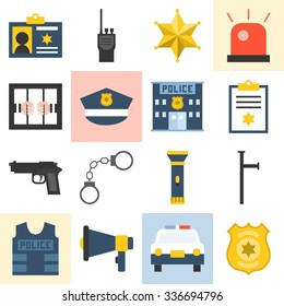Vector police icons set, flat design
