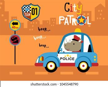 Vector of police patrol cartoon
