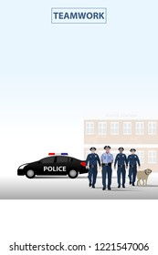 vector policeman standing in front of polish station