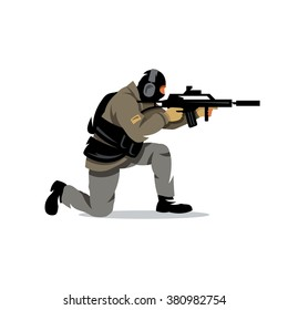 Vector Policeman Tactical Shoot Cartoon Illustration. Armed police military preparing to shoot with automatic rifle. Branding Identity Corporate Logo isolated on a white background