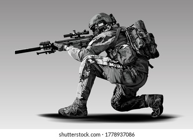 Vector Policeman Tactical Shoot Illustration. Armed police military preparing to shoot with automatic sniper rifle.