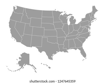 Vector Political Grey map of The United States of America on white Background