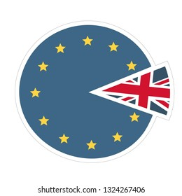 Vector political icon Brexit. Sticker on a blue background the flag of the European Union and the Kingdom of Great Britain. Illustration of brexit in flat minimalism style.