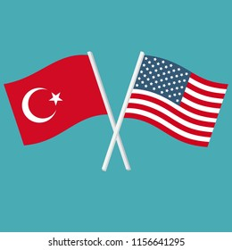 Vector political icon flags of America and Turkey. Image US and Turkish flags are crossed and waving. Illustration Flags in flat design