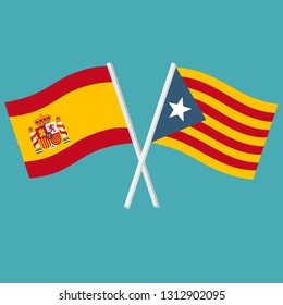 Vector political icon flags of Spain and Catalonia. The flags of Spain and Catalonia are crossed and swaying in the wind. Illustration of flags in flat minimalism style.