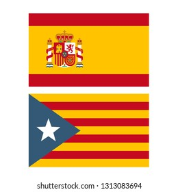 Vector political icon flags of Spain and Catalonia. llustration of flags in flat minimalism style.