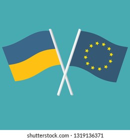 Vector political icon of flags of Ukraine and Europe. Flags of Ukraine and the European Union are crossed and swaying in the wind. Illustration of flags in flat minimalism style
