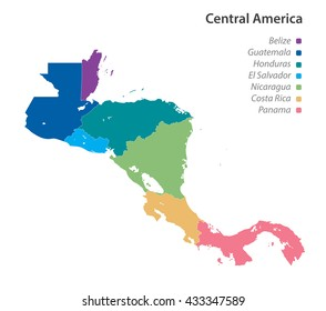 Vector of political map of Central America