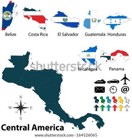 Vector Political Map Central America Set Stock Vector (Royalty Free ...