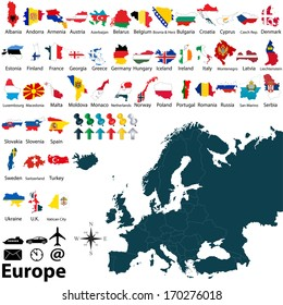 Vector of political map of Europe set with maps and flags on white background