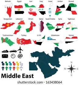 Vector of political map of Middle East set with maps and flags on white background