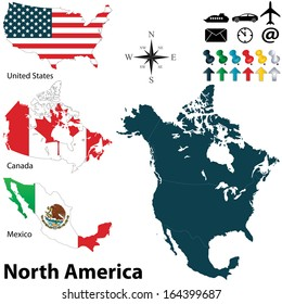 Vector of political map of North America set with buttons flags on white background