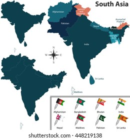 vector of political map of south asia set with flags on white background