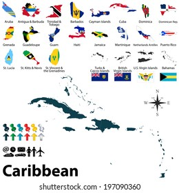 Vector political maps with flags of Caribbean on white background