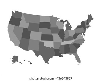 Vector political USA map isolated on a white background. Map of the United States