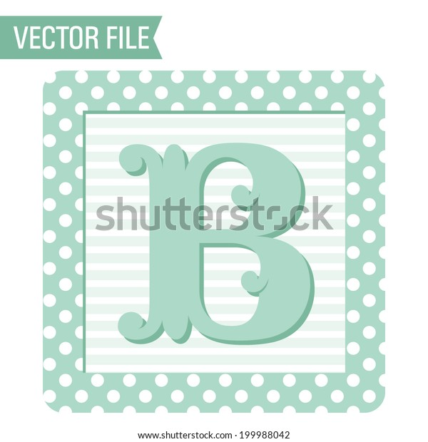 Vector Polka Dots Baby Block Letter Stock Vector (Royalty