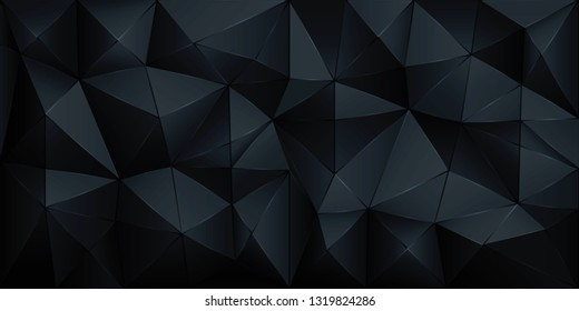 Vector polygon 3d black abstract polygonal geometric triangle background