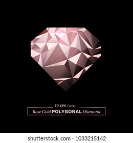 Vector Polygon Abstract Diamond Shaped Polygonal Geometric Triangle Egg Background in Rose Gold Color.