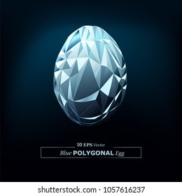 Vector Polygon Abstract Polygonal Geometric Triangle Egg Shape in Blue Color.