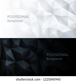 Vector polygon abstract polygonal geometric triangle white and black 3d background with place for text