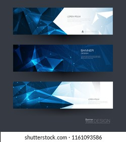 Vector polygon banner set. Polygonal or low poly pattern background. Illustration abstract layout, label design. Futuristic digital technology concept for business, web, template or brochure