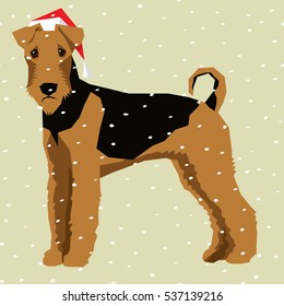Vector polygon dog collection. Airedale Terrier dog in Christmas Santa hat.