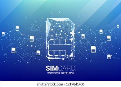 ベクターポリゴンのドット接続線の形をしたシムカードアイコンとネットワーク。モバイルSIMカードテクノロジとネットワークのコンセプト。