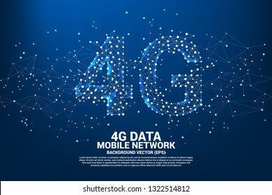 Vector Polygon dot connect line shaped 4G mobile network. Concept for mobile phone data sim card technology.