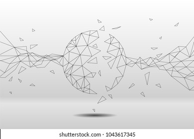 Vector polygon particle build to circle form: Concept of Futuristic Transformation, Big Data, Data transform