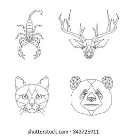 Vector polygonal animal illustration set. Panda bear, cat, deer heads and scorpion.