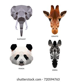 Vector polygonal animals set isolated on white. Low poly herbivores illustration. Color vector simple image.