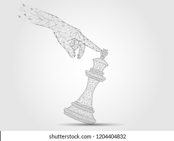 Vector polygonal art style finger tilting king chess piece. Low poly wireframe mesh with scattered particles effect. Checkmate, game is lost concept poster banner design template.