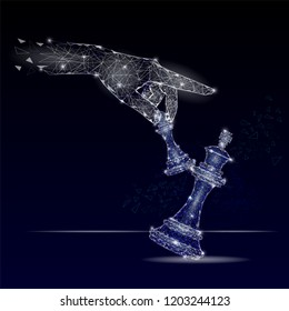 Vector polygonal art style human hand holding pawn knocking down king chess piece. Low poly wireframe mesh with scattered particles and light effects. Business checkmate poster banner template.