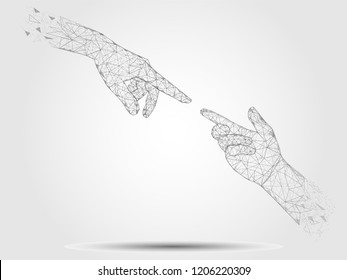 Vector polygonal art style human touching hands. Low poly wireframe mesh with scattered particles effect. Poster banner design template.