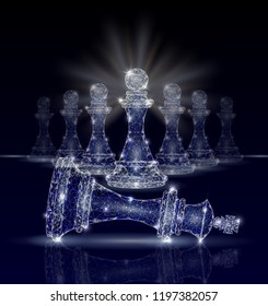 Vector polygonal art style king chess piece defeated by pawns. Low poly wireframe mesh with light effects on dark blue background. Revolution concept poster banner template.