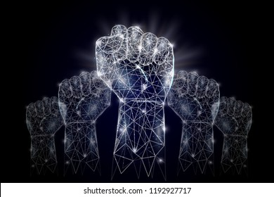 Vector polygonal art style raised up clenched fists. Low poly wireframe mesh with scattered particles and light effects on dark blue background. Raised hands poster banner design template.