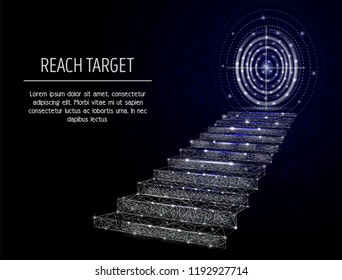 Vector polygonal art style stairway with target circle. Low poly wireframe mesh with light effects on dark blue background. Reach target business concept poster banner design template with copy space.