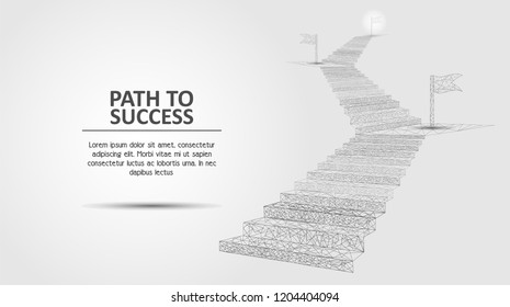 Vector polygonal art style stairway with flags. Low poly wireframe mesh. Path to success business concept poster banner design template with copy space.